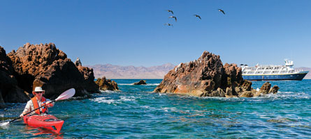 Kayaking in Sea of Cortez during Lindblad-National Geographic Baja Wellness expedition