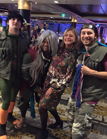 Nicola, second from right, meets the anime fans.]