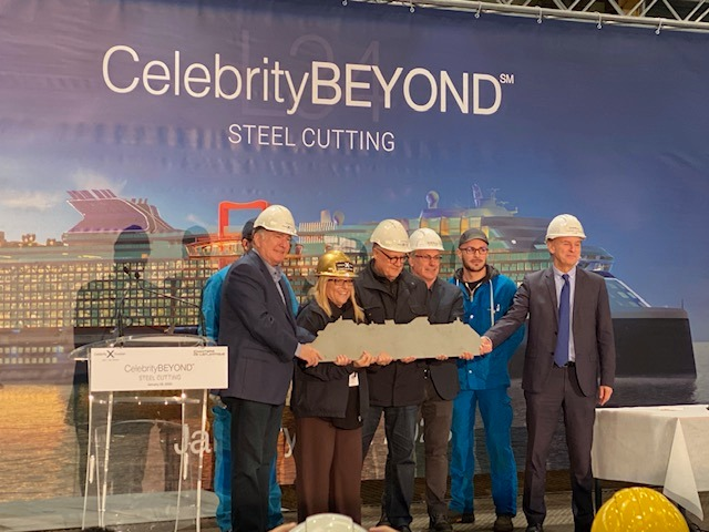 Joyce Landry at steel-cutting ceremony of Celebrity Beyond
