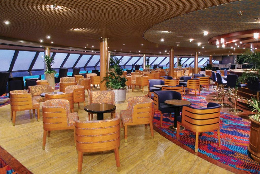 Full service ships have dining, lounges, fitness