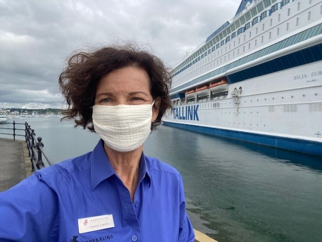 Joyce Landy with brokered ship at the G7 Summit in Cornwall